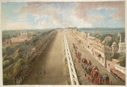 The Chandni Chowk from the top of the Lahore Gate of the Fort, the canal depicted running down the middle